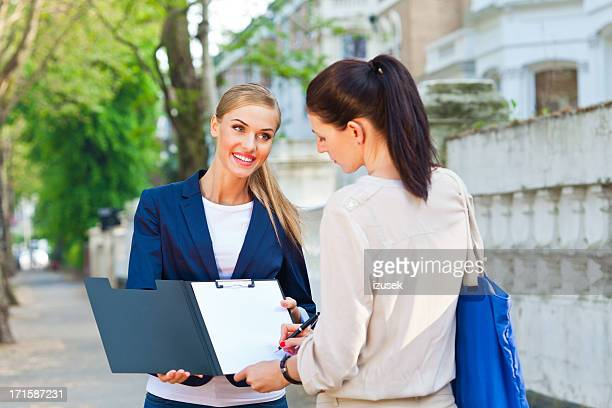 Woman buying a property