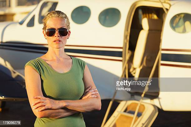 Woman by Airplane
