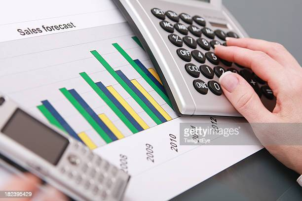 Woman calculating sales forecast