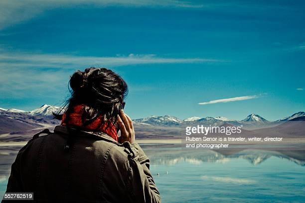 Woman calling from Atacama