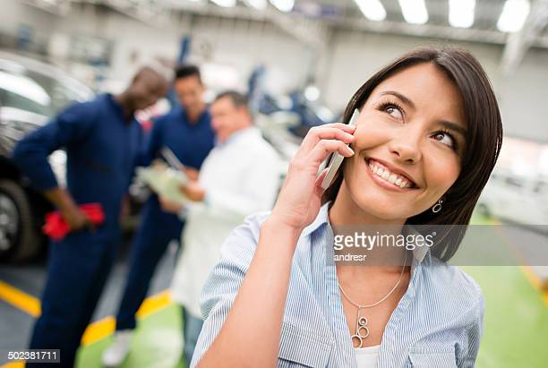 Woman calling the insurance