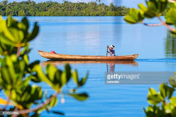 Woman Canoeing at Langa Langa Lagoon Solomon Islands