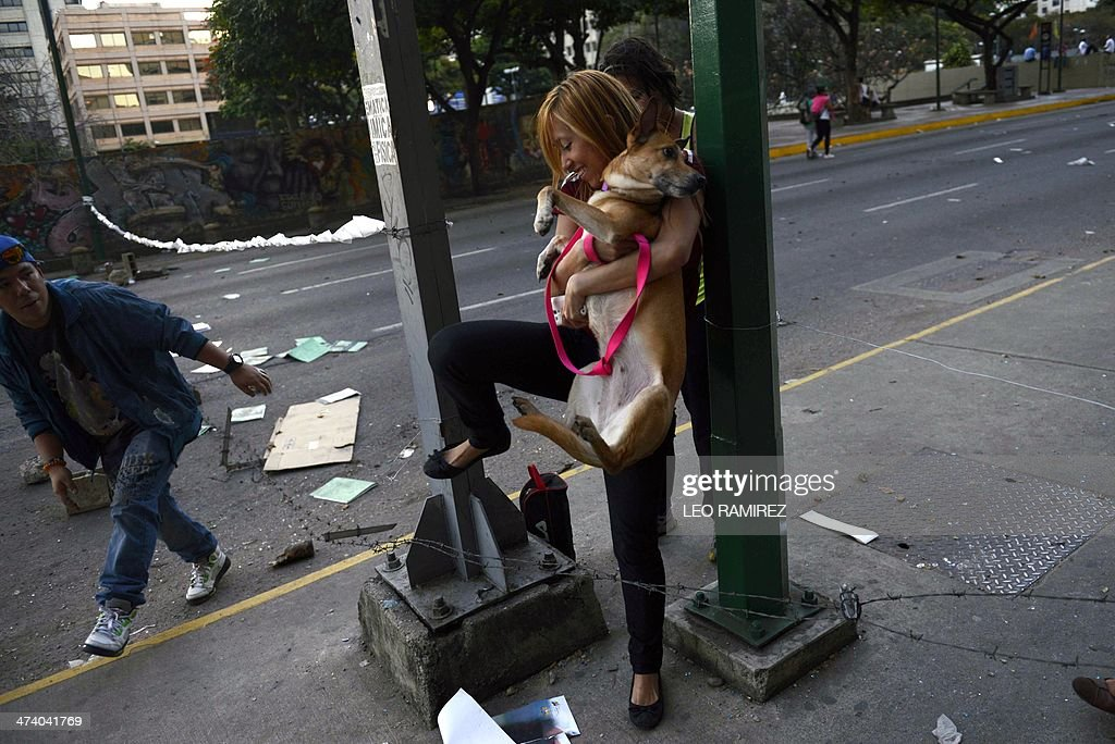 A woman carries her dog as she passes through a barricade during an anti-government demo, in Caracas on February 21, 2014. The death toll from escalating anti-government protests in Venezuela jumped to eight on Friday, as President Nicolas Maduro's leftist administration threatened to cut off fuel to areas 'under fascist siege.' AFP PHOTO / Leo Ramirez