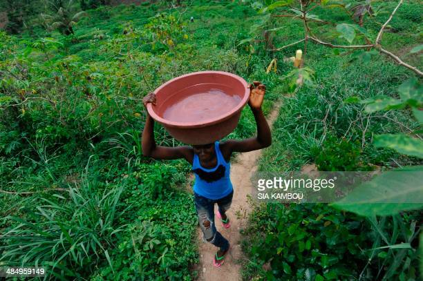 A woman carries water from a stream on April 15 2014 in Anyama a commune of Abidjan AFP PHOTO/ SIA KAMBOU / AFP PHOTO / SIA KAMBOU