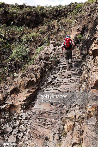 Woman carrying a backpack on a hiking trail, natural staircase from basalt rock, Barranco de Guarimiar near Alajer??, La Gomera, Canary Islands, Spain, Europe