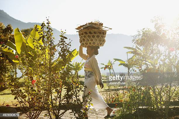 Woman Carrying Basket on Her Head, Bedugul, Bali, Indonesia