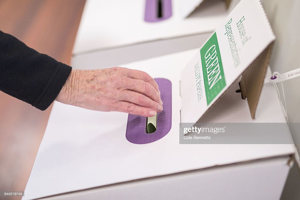A woman casts her House of Representatives vote at Kingswood Park Public School hall in the electorate of Lindsay on July 2, 2016 in Penrith, Australia. Voters head to the polls today to elect the 45th parliament of Australia.