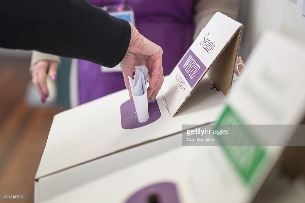 A woman casts her Senate vote at Kingswood Park Public School hall in the electorate of Lindsay on July 2, 2016 in Penrith, Australia. Voters head to the polls today to elect the 45th parliament of Australia.
