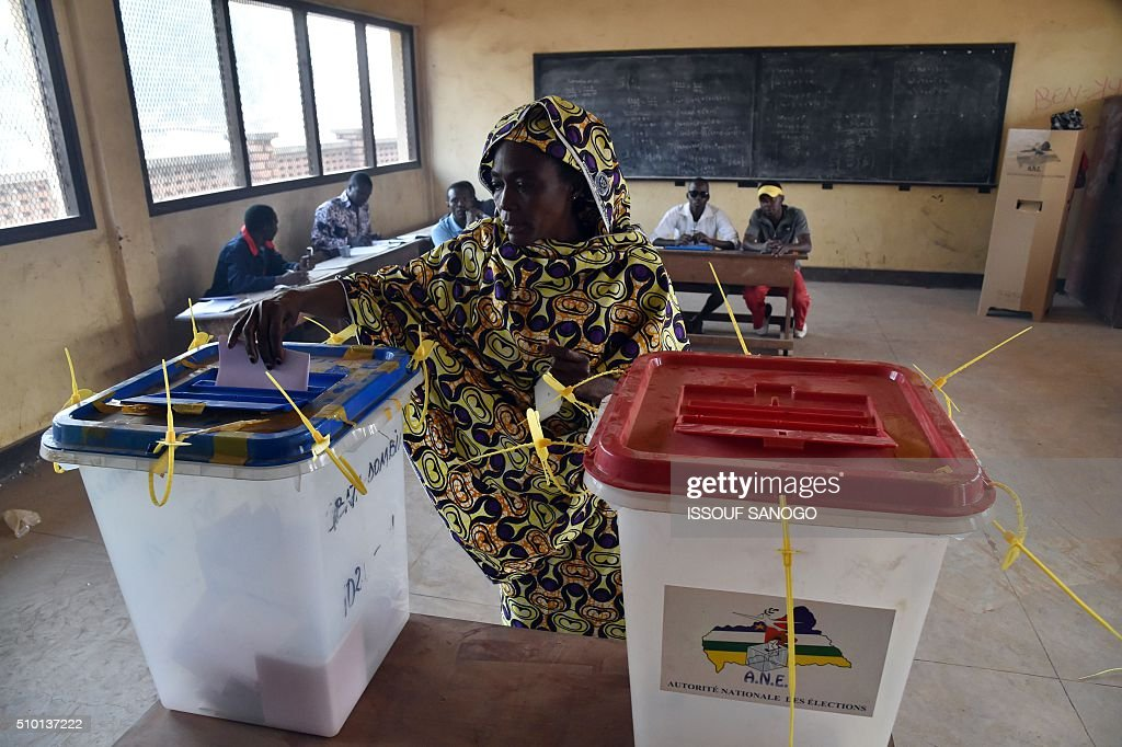 A woman casts her vote at the polling station in the muslim district of PK 5 in Bangui for Central African Republic second round presidential and legislative elections on February 14, 2016. Voters in the Central African Republic began casting ballots on February 14 in delayed legislative elections and a presidential run-off which they hope will bring peace after the country's worst sectarian violence since independence in 1960.The nation, dogged by coups, violence and misrule since winning independence from France, could take a step towards rebirth if the polls go smoothly. SANOGO