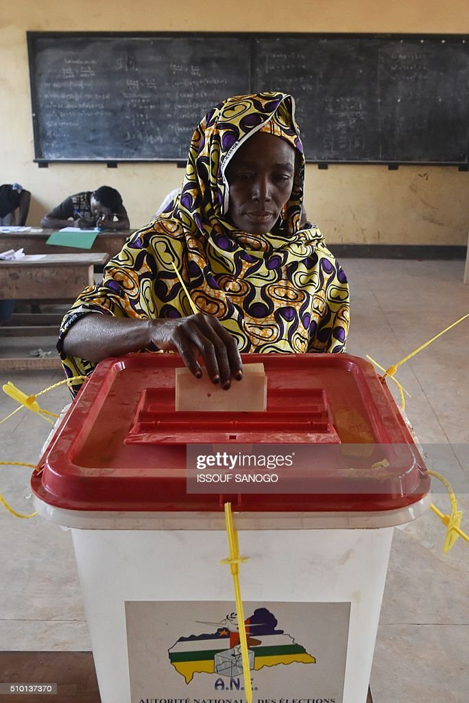 A woman casts her vote at the polling station in the muslim district of PK 5 in Bangui for Central African Republic second round presidential and legislative elections on February 14, 2016. Voters in the Central African Republic began casting ballots on February 14 in delayed legislative elections and a presidential run-off which they hope will bring peace after the country's worst sectarian violence since independence in 1960. The nation, dogged by coups, violence and misrule since winning independence from France, could take a step towards rebirth if the polls go smoothly. SANOGO
