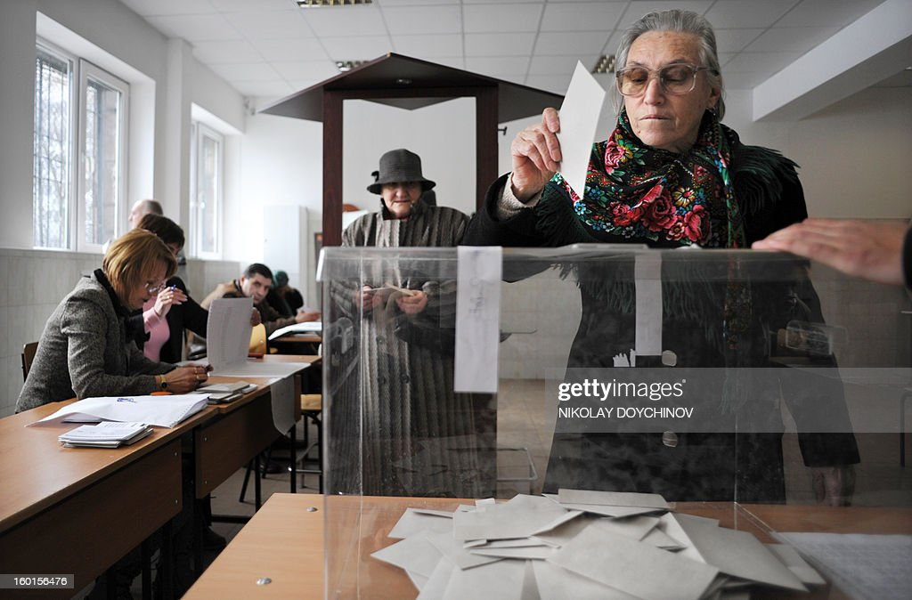 A woman casts her vote in a polling station during the national referendum in Sofia on January 27, 2013. Bulgarians voted Sunday on whether to revive plans ditched by the government to construct a second nuclear power plant, in the EU member's first referendum since communism. The referendum asks 6.9 million eligible voters: 'Should Bulgaria develop nuclear energy by constructing a new nuclear power plant ?'.