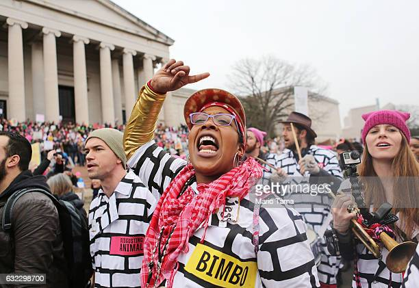 A woman chants while attending the Women's March on Washington on January 21 2017 in Washington DC Large crowds are attending the antiTrump rally a...