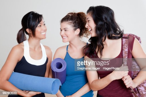 woman chatting after pilates class : Stock Photo