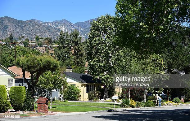 A woman checks a mailbox in front of homes with green grass lawns on April 8 2015 in La Canada Flintridge California on the foothills of the San...