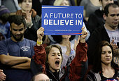 A woman cheers at a rally for Democratic presidential candidate Bernie Sanders at Key Arena on March 20 2016 in Seattle / AFP / Jason Redmond