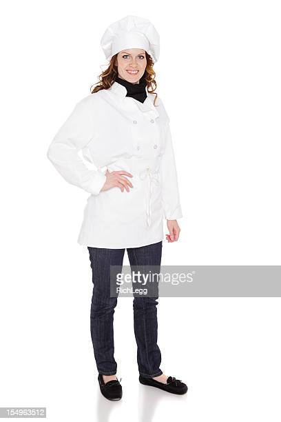 Femme Chef de cuisine isolé sur blanc