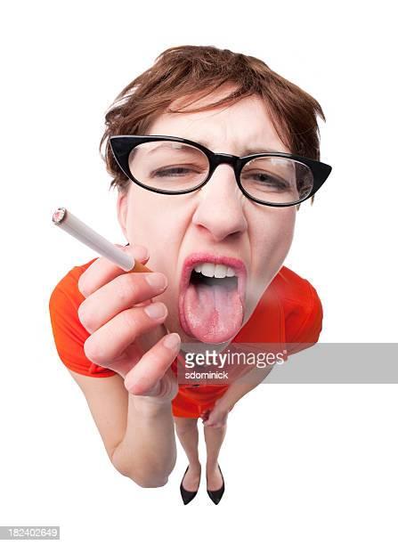 Woman Choking On Cigarette