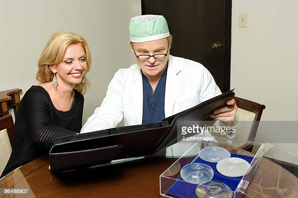 Woman choosing breast implants