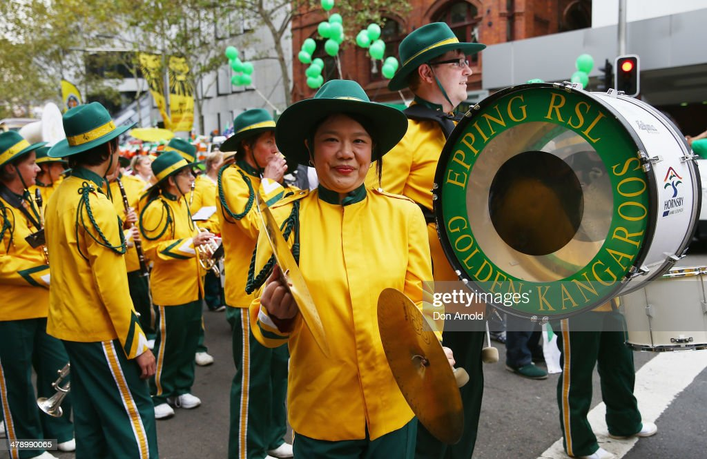 A woman clashes her cymbals prior to marching in the parade on March 16, 2014 in Sydney, Australia. St Patrick's Day is an annual religious and cultural commemoration of the widely recognised patron saint of Ireland, Saint Patrick. March 17th, is a public holiday in Northern Ireland and the Republic of Ireland but is celebrated in many countries around the world where Irish diaspora have settled.