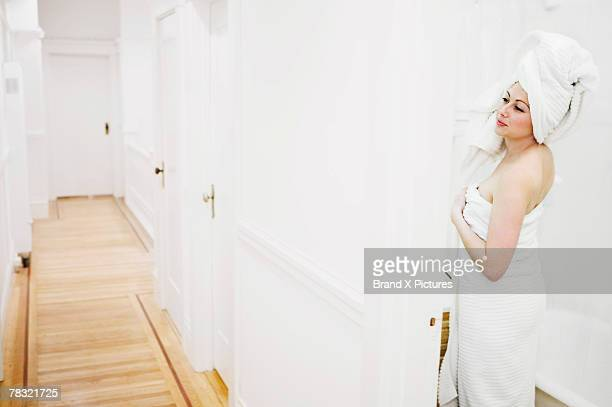 Woman clean from shower