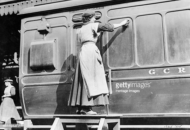 A woman cleaning railway carriages at Marylebone station April 1915 Before the war women had been employed as cleaners and charwomen by the railway...