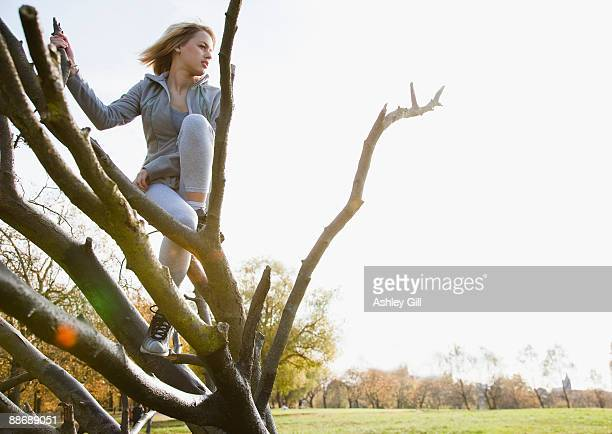 Woman climbing tree in park
