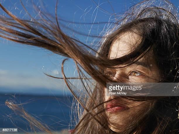 woman close up at beach