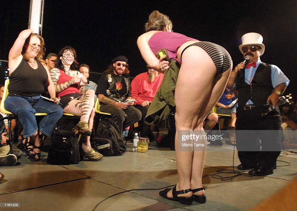 A woman competes in the 'Best Butt' contest at the Coney Island Tattoo and Motorcycle Show September 2, 2001 in the Brooklyn borough of New York City. Thousands of pleasure seekers flocked to the legendary beach town over the Labor Day weekend.