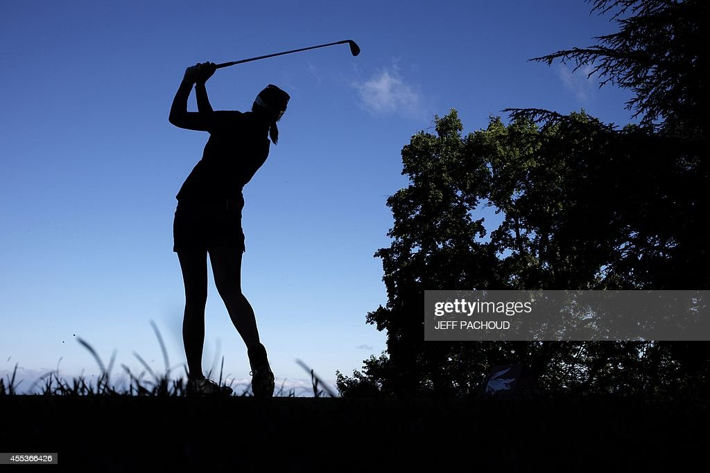 A woman competes on September 13 2014 during the Evian golf Championships a major tournament on the women's calendar in EvianlesBains French Alps AFP...