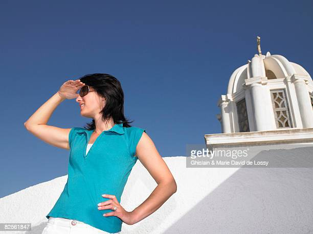 Woman contemplating a view