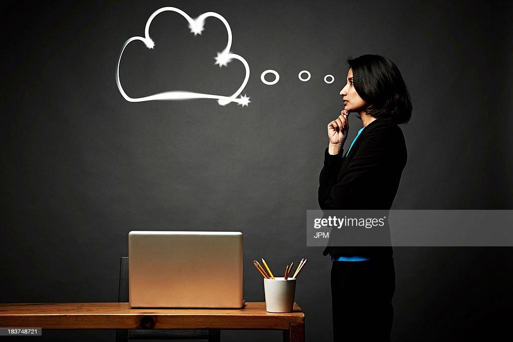 Woman contemplating problem : Stock Photo