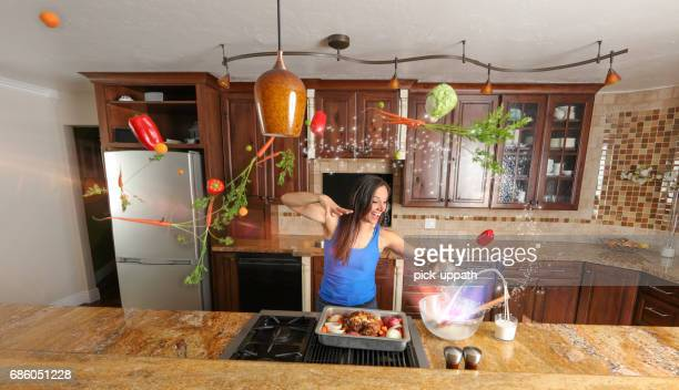 Woman cooking a meal with magic