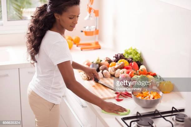 Woman Cooking Breakfast.
