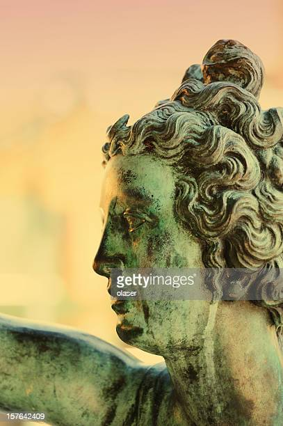 woman copper statue head