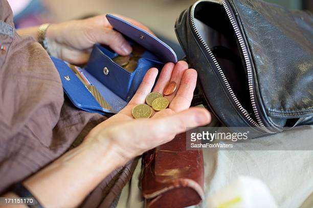 woman counting foreign currency