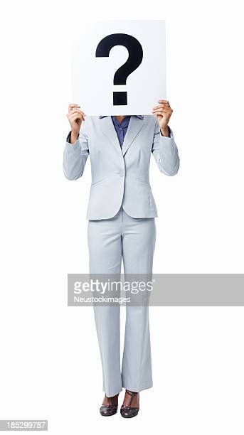 Woman Covering Her Face With Question Mark Sign - Isolated