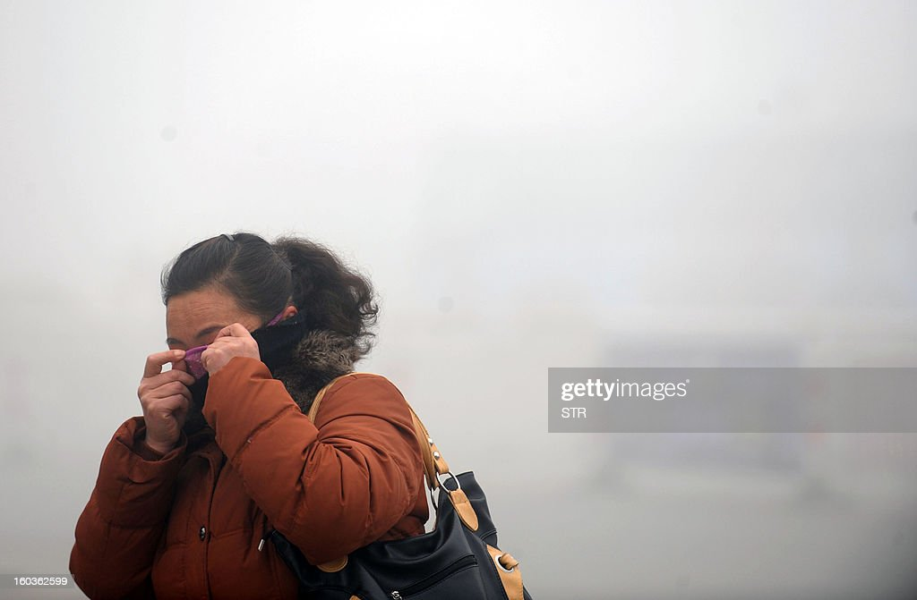 A woman covers her face with her sweater in the heavy smog in Haozhou, central China's Anhui province on January 30, 2013. Across China public frustration mounted this week as dense smog blanketed swathes of the country, with even state-run media questioning the authorities' ability to meet their goal of building a 'beautiful China'. CHINA OUT AFP PHOTO