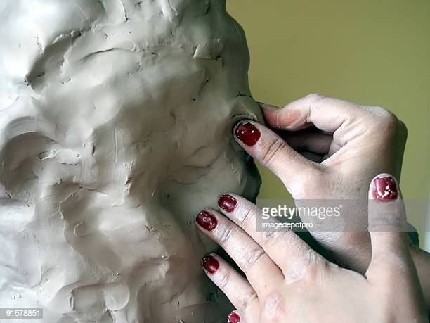 woman crafting clay