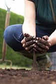 Woman crouching in field, pouring soil with cupped hands, low section