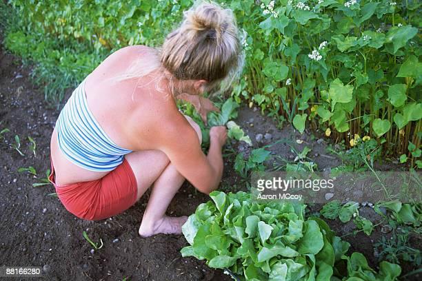 Woman crouching in garden