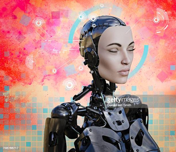 Woman cyborg with artificial intelligence