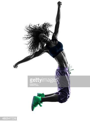 Bailarina de baile zumba mujer de ejercicios de silueta : Foto de stock