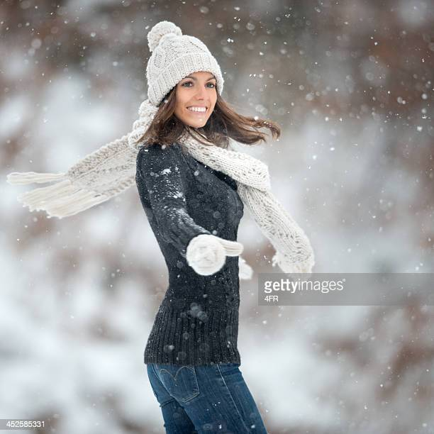 Woman dancing in Snowflakes