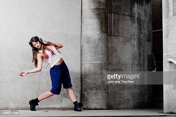 Woman dancing on street