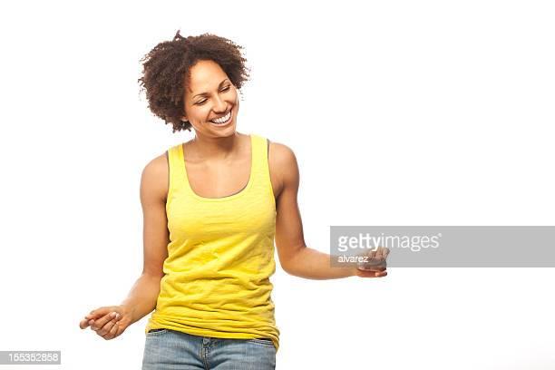 Woman dancingto music