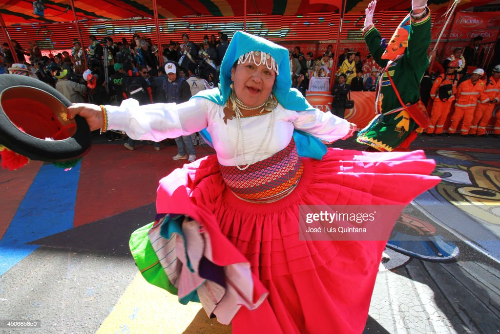 A woman dancing'Waka waka', a traditional dance of Bolivia during the religious festival of Jesus del Gran Poder on June 15, 2014 in La Paz, Bolivia. About thirty thousand people attended the event, which is a traditional folk celebration in the country.