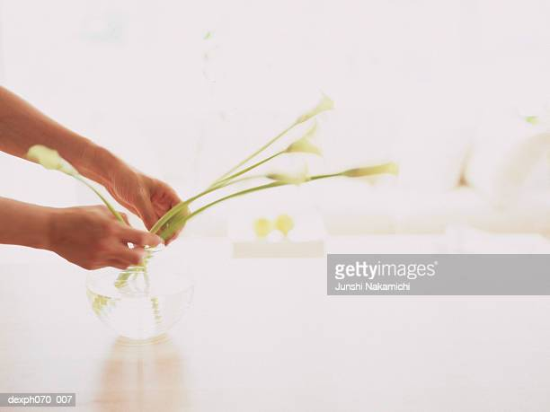 Woman decorating the table