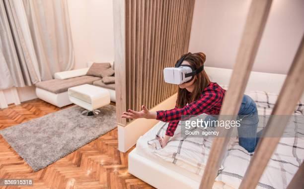 Woman deep in virtual reality