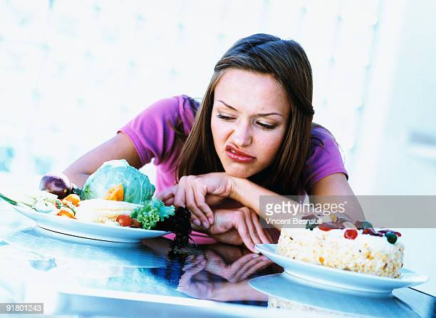 Woman disgusted by vegetables