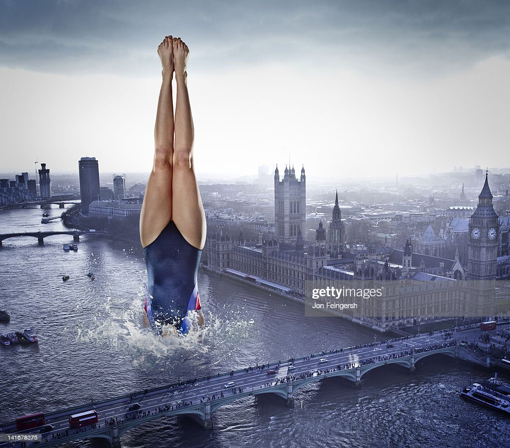 Woman Diving into River : Stock Photo